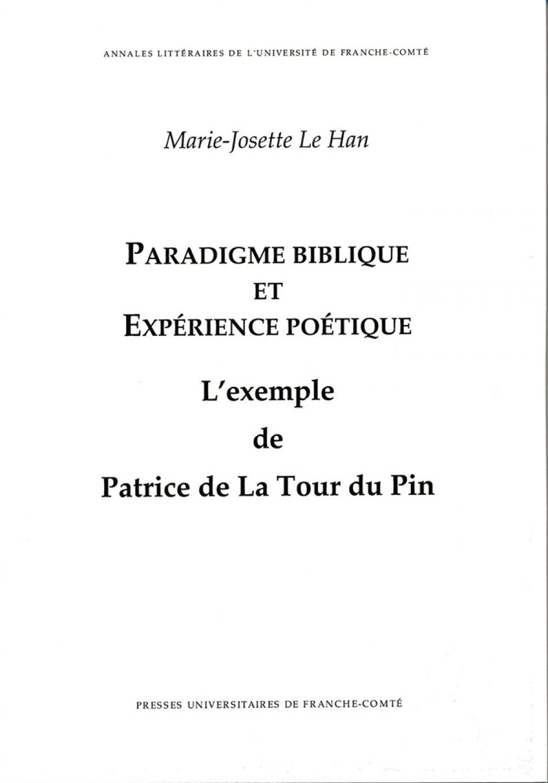Paradigme biblique et expérience poétique