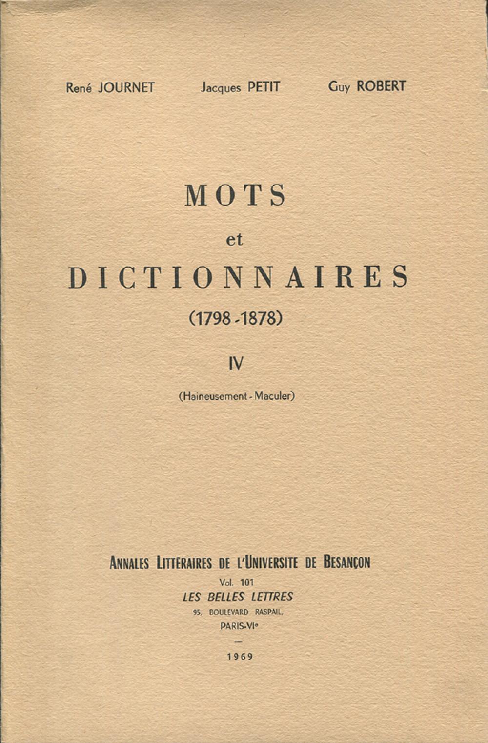 Mots et dictionnaires IV (1798-1878)
