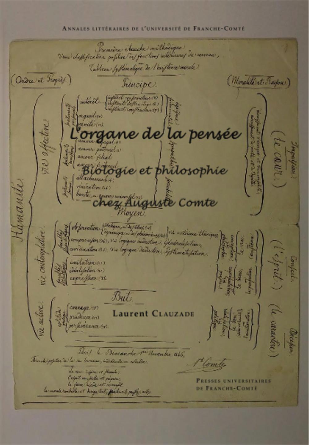 L'organe de la pensée.<br>Biologie et philosophie chez Auguste Comte
