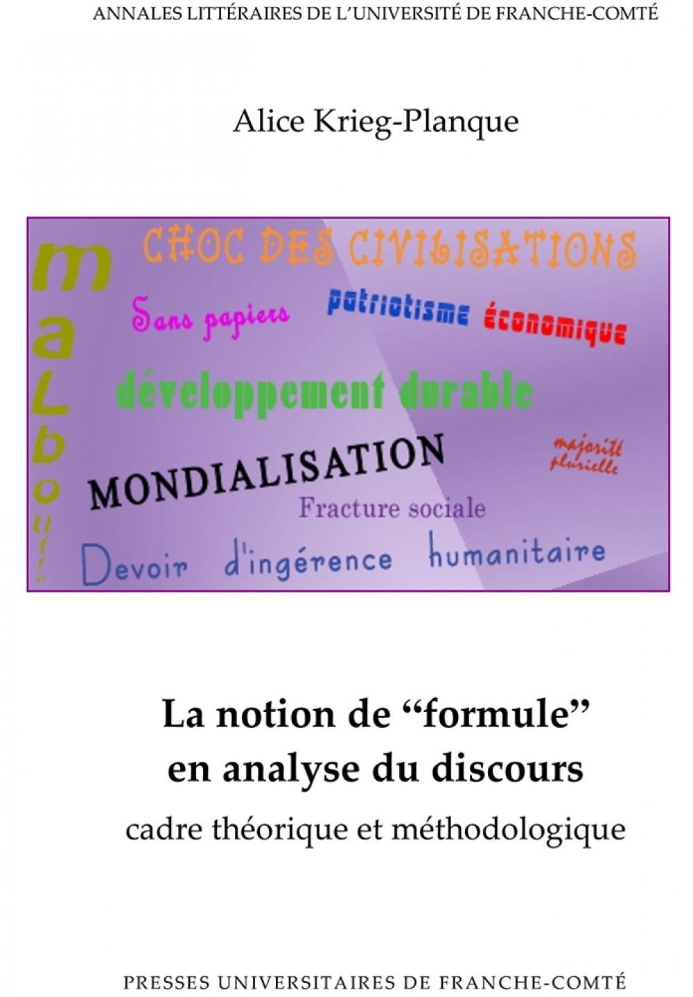 """La notion de """"formule"""" en analyse du discours"""