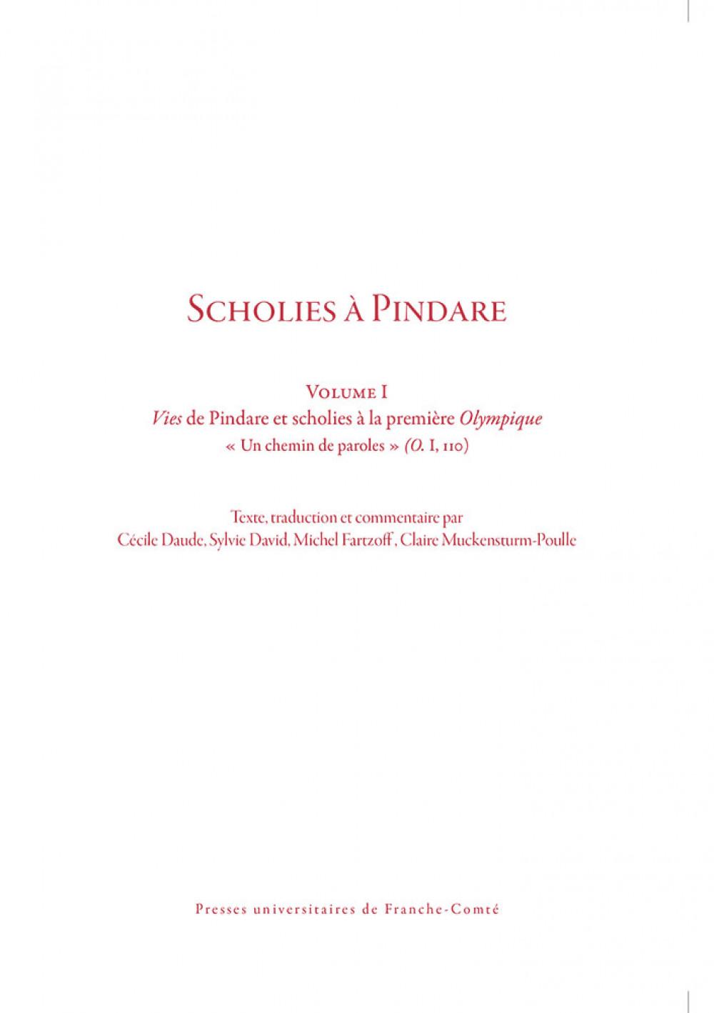 Scholies à Pindare. Traduction commentée