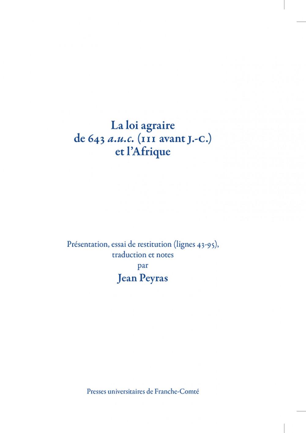 La loi agraire de 643 a.u.c. (111 avant J.-C.) et l'Afrique