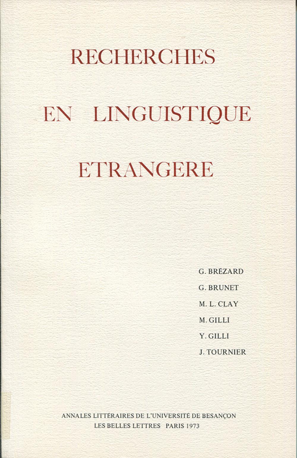 Recherches en linguistique étrangère I