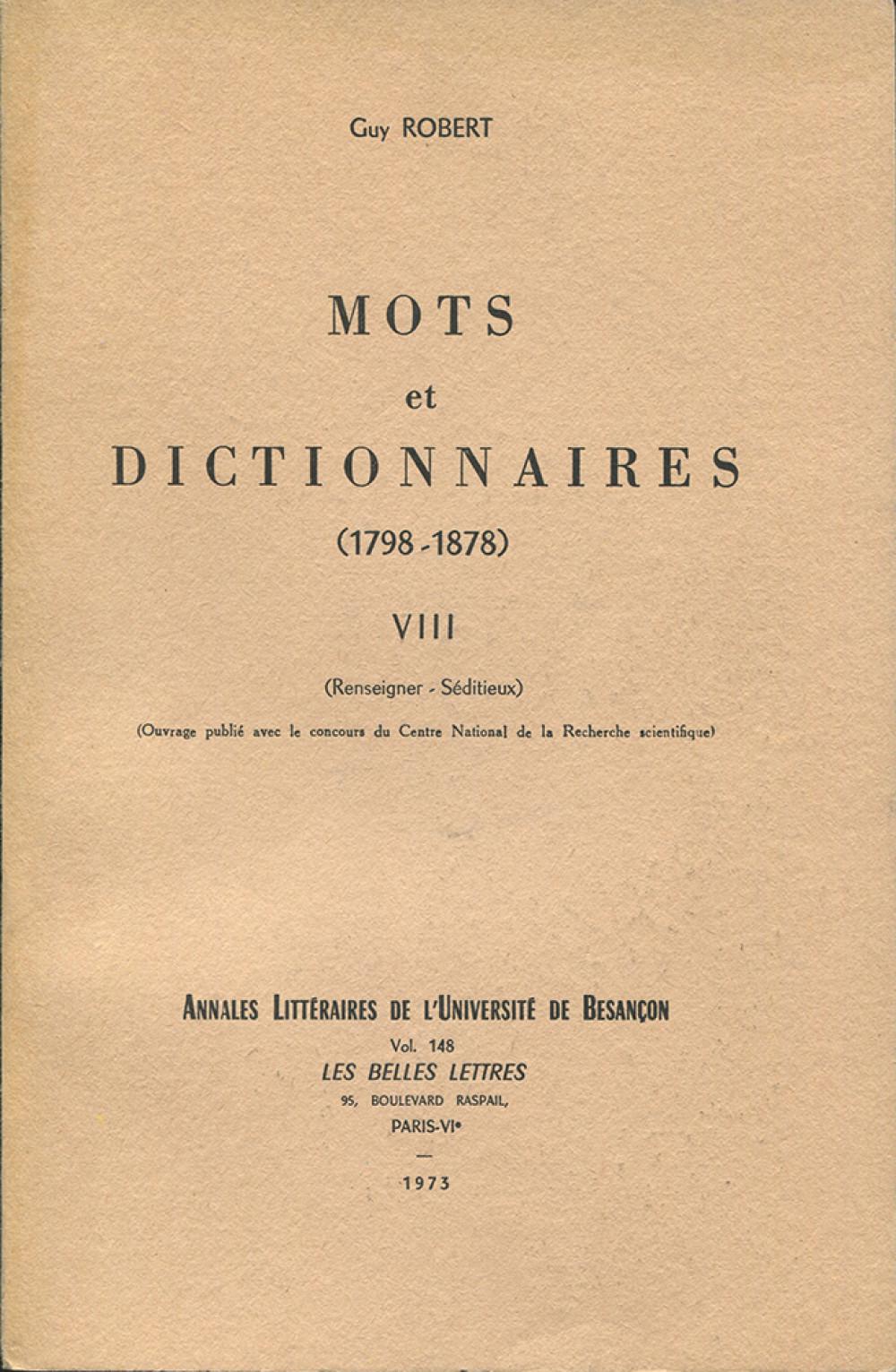 Mots et dictionnaires VIII (1798-1878)