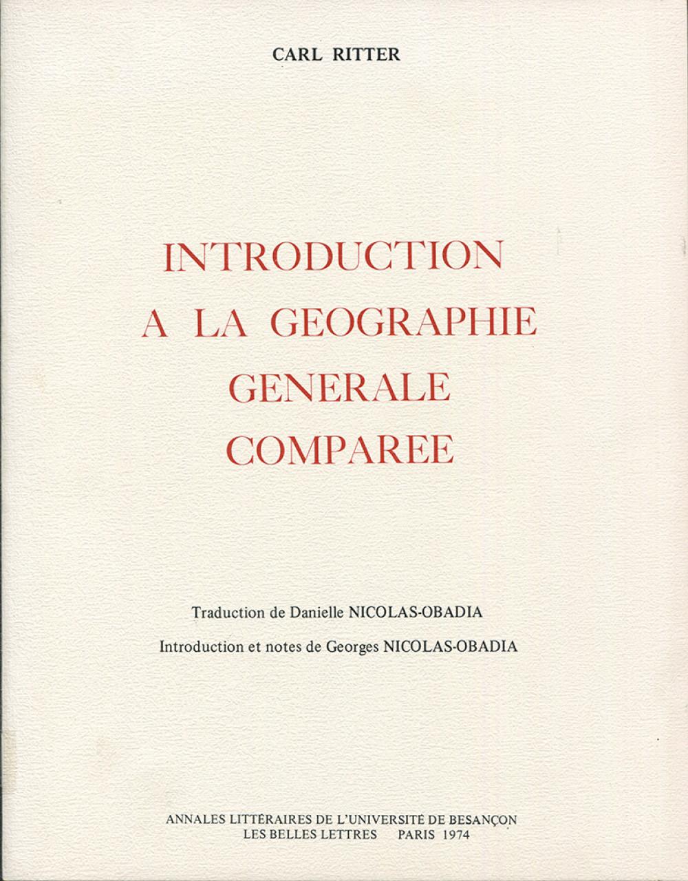 Introduction à la géographie générale comparée