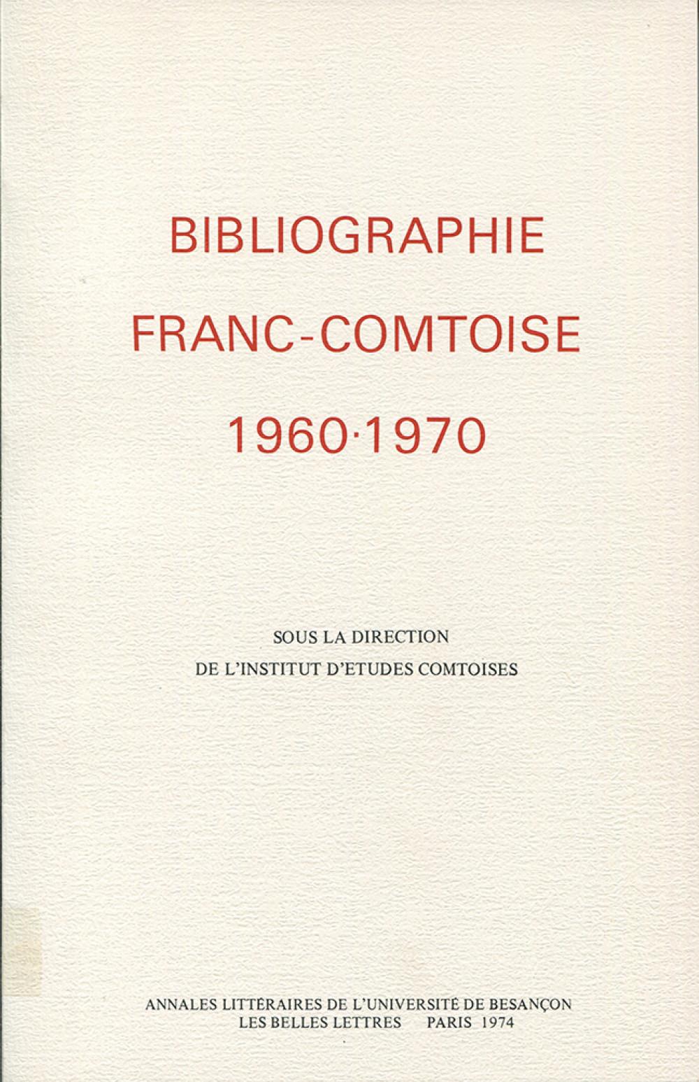 Bibliographie franc-comtoise 1960-1970