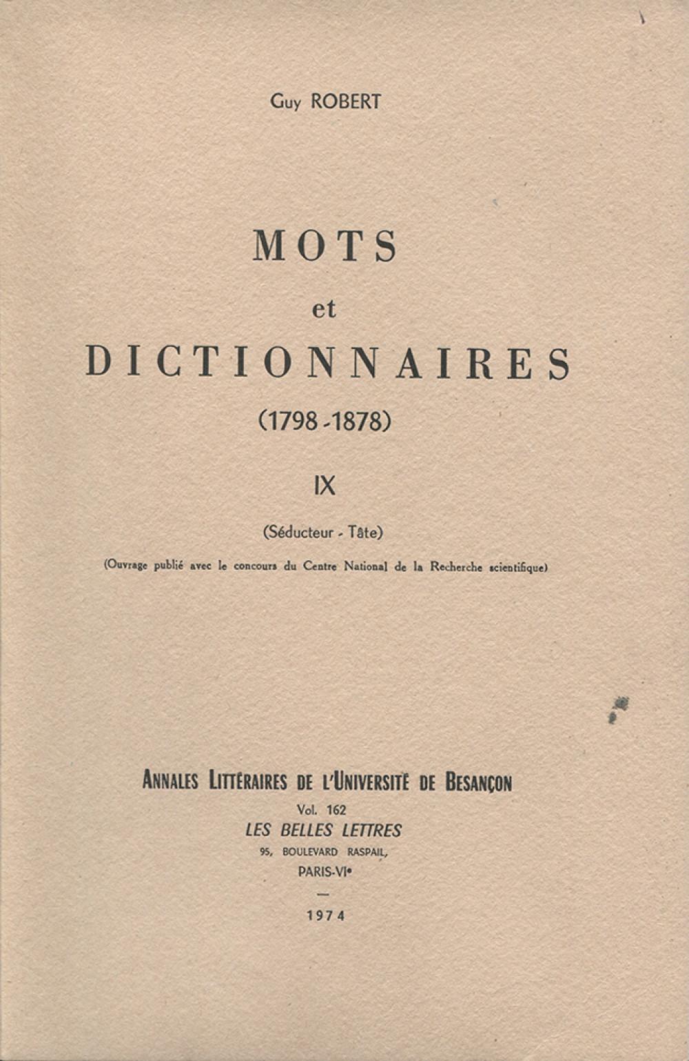 Mots et dictionnaires IX (1798-1878)