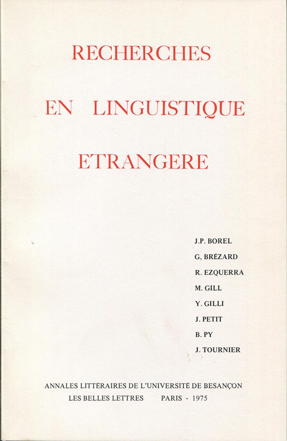 Recherches en linguistique étrangère II