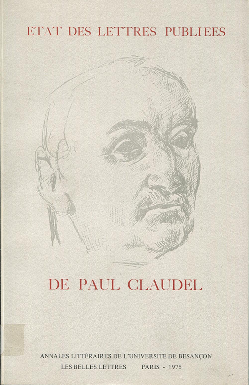 Etat des lettres publiées par Paul Claudel
