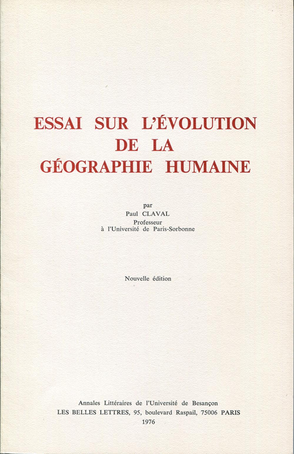 Essai sur l'évolution de la géographie humaine