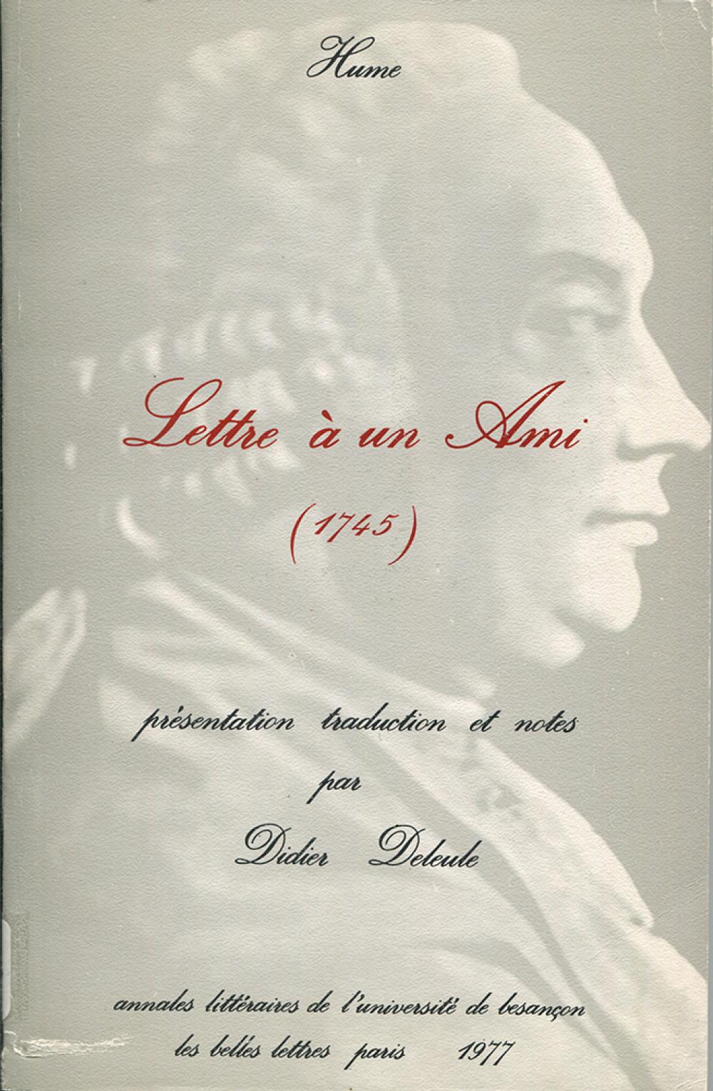 Hume. Lettre à un ami (1745)