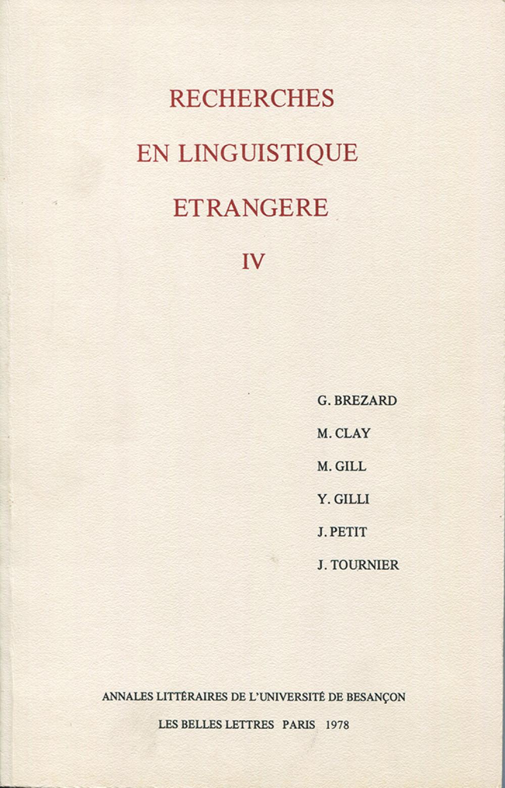 Recherches en linguistique étrangère IV