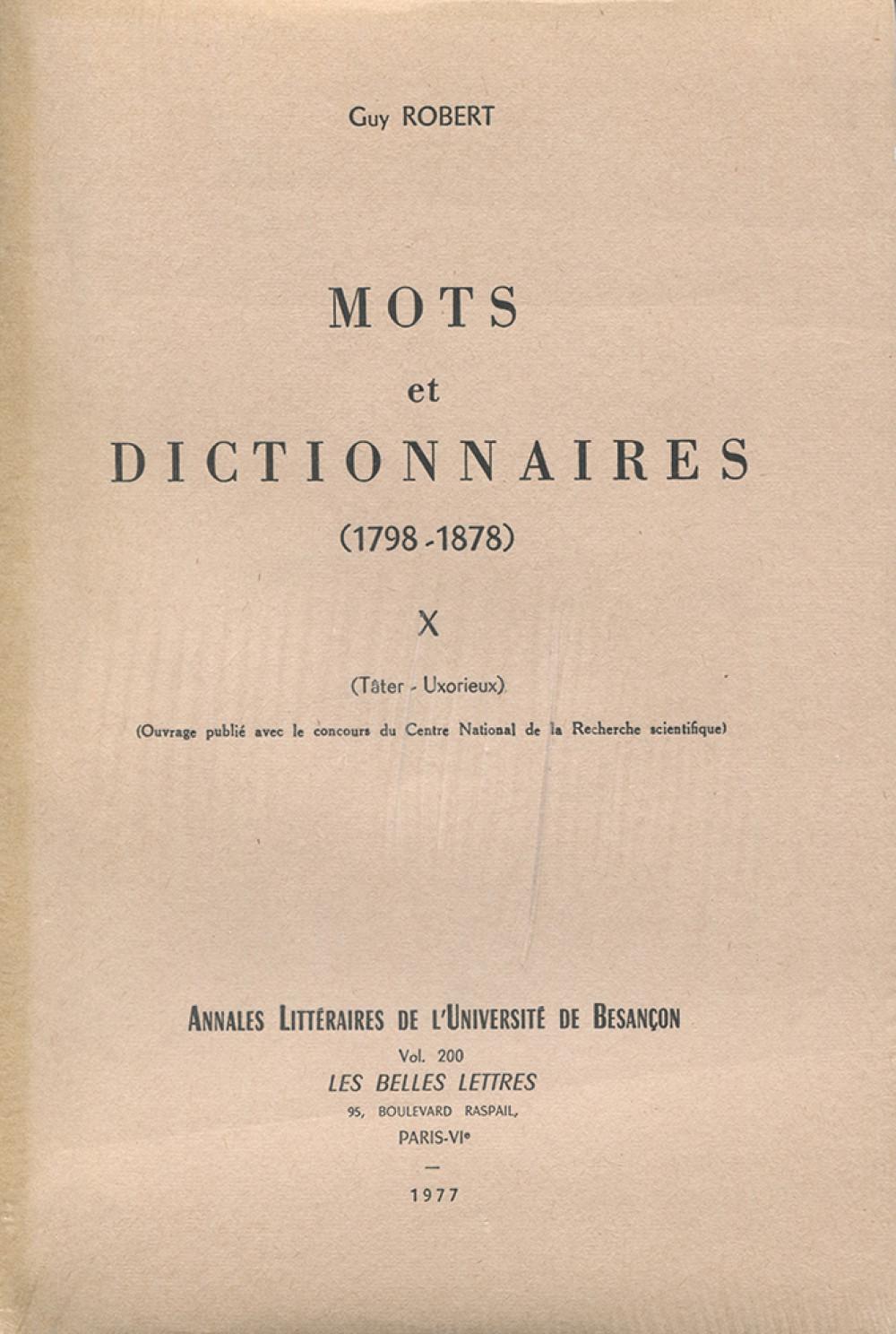 Mots et dictionnaires X