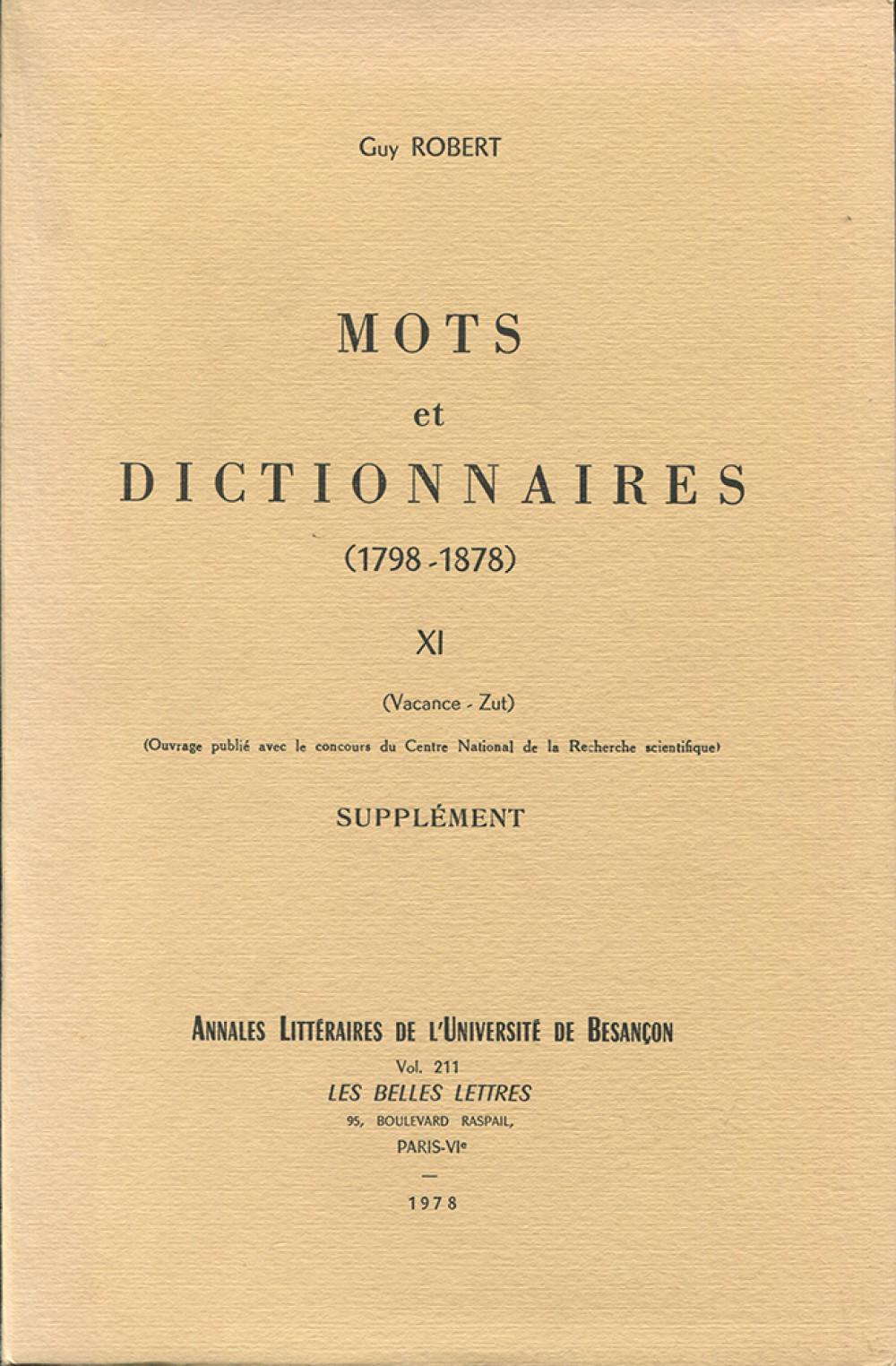 Mots et dictionnaires XI (1798-1878)