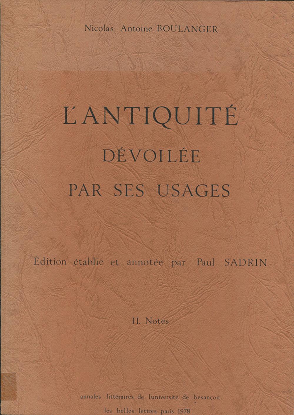 L'Antiquité dévoilée par ses usages (vol. I et II)