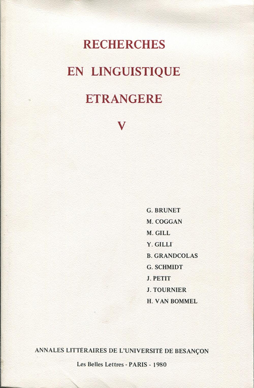 Recherches en linguistique étrangère V