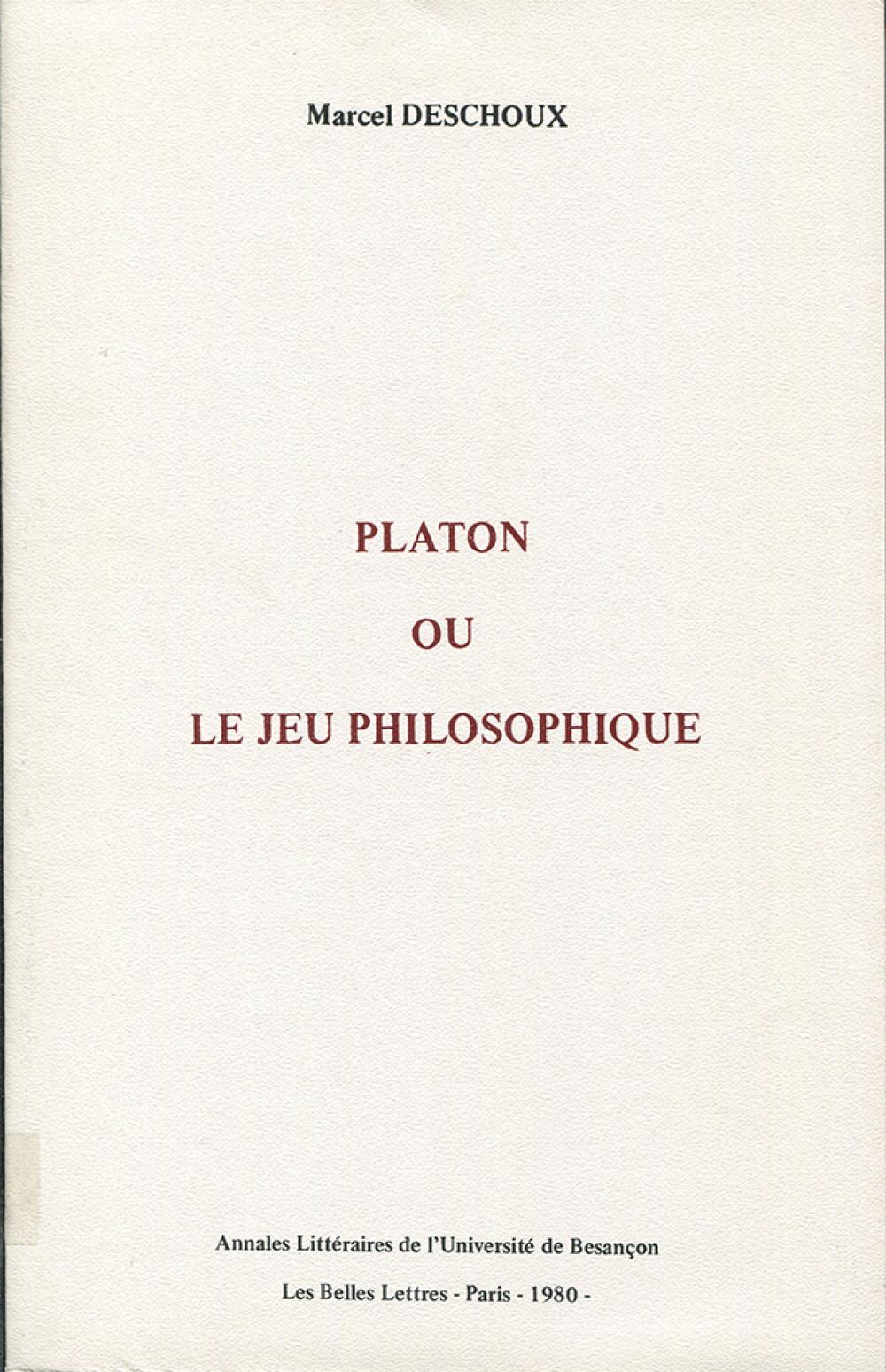 Platon ou le jeu philosophique