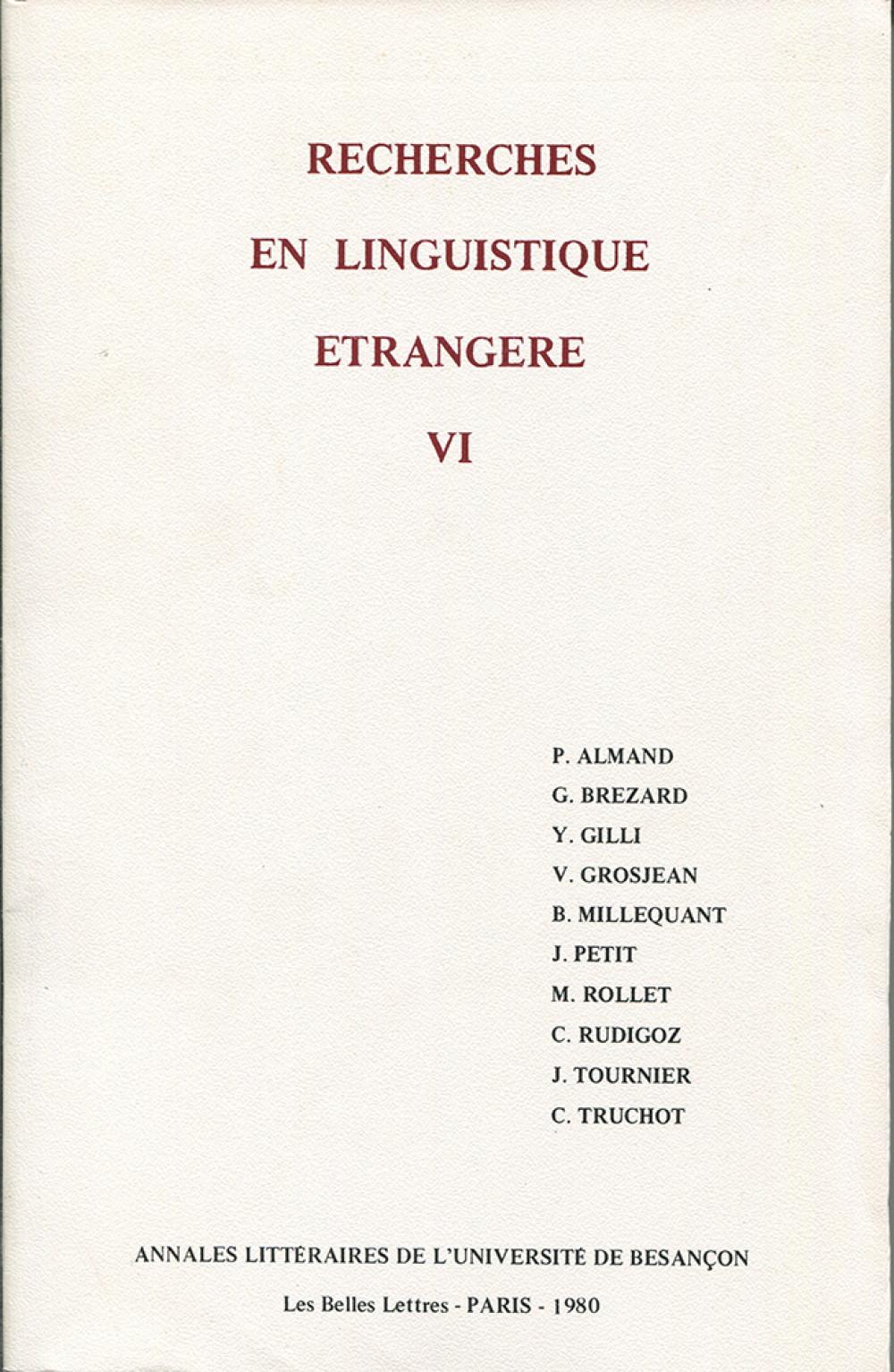 Recherches en linguistique étrangère VI