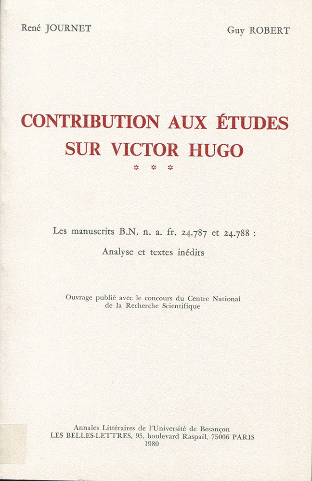 Contribution aux études sur Victor Hugo III