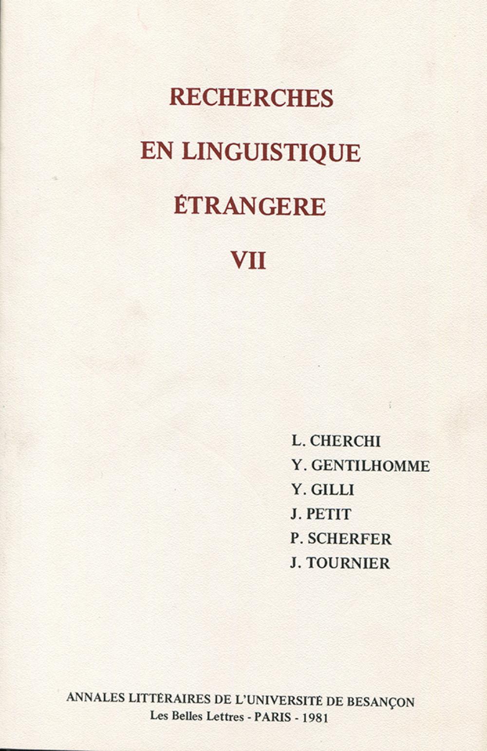 Recherches en linguistique étrangère VII