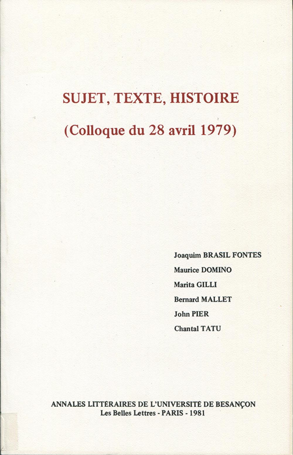Sujet. Texte. Histoire
