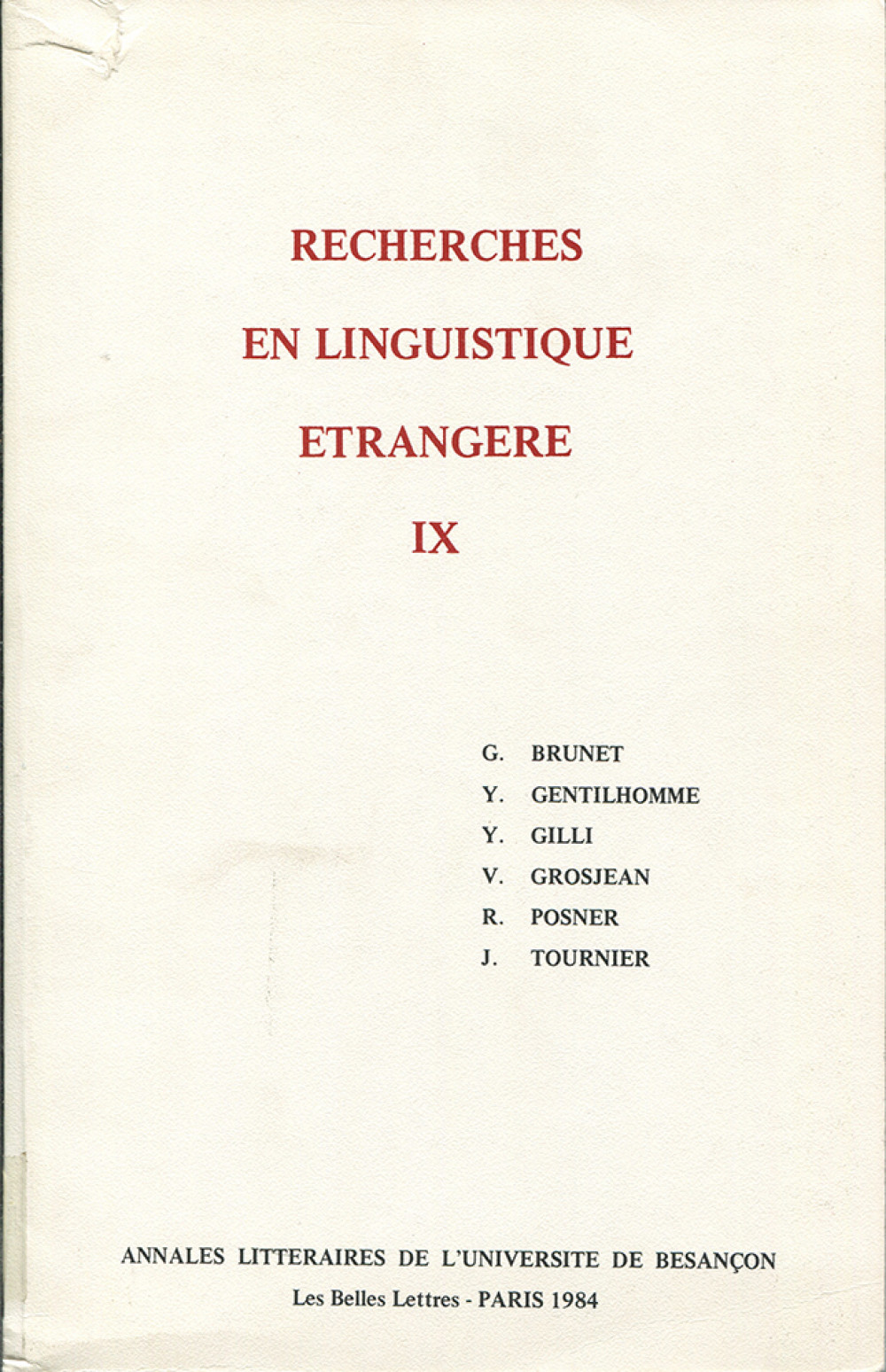 Recherches en linguistique étrangère IX
