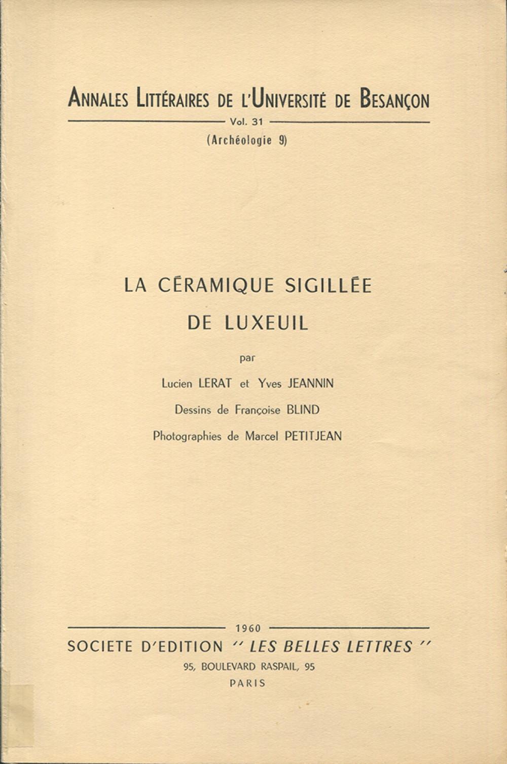 La céramique sigillée de Luxeuil