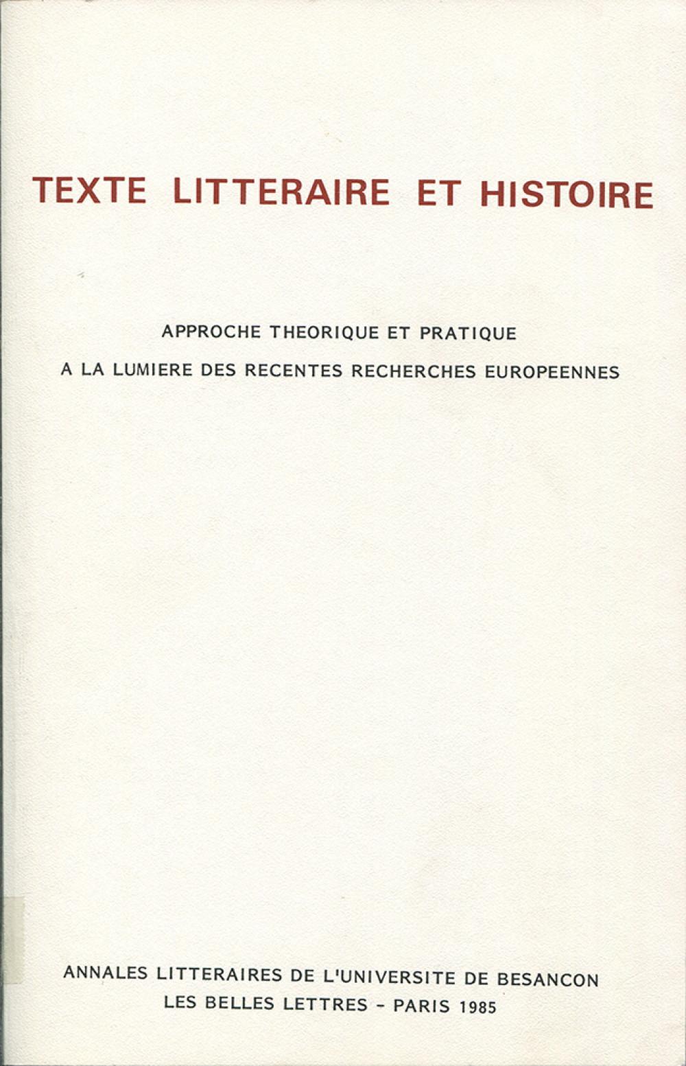 Texte littéraire et histoire