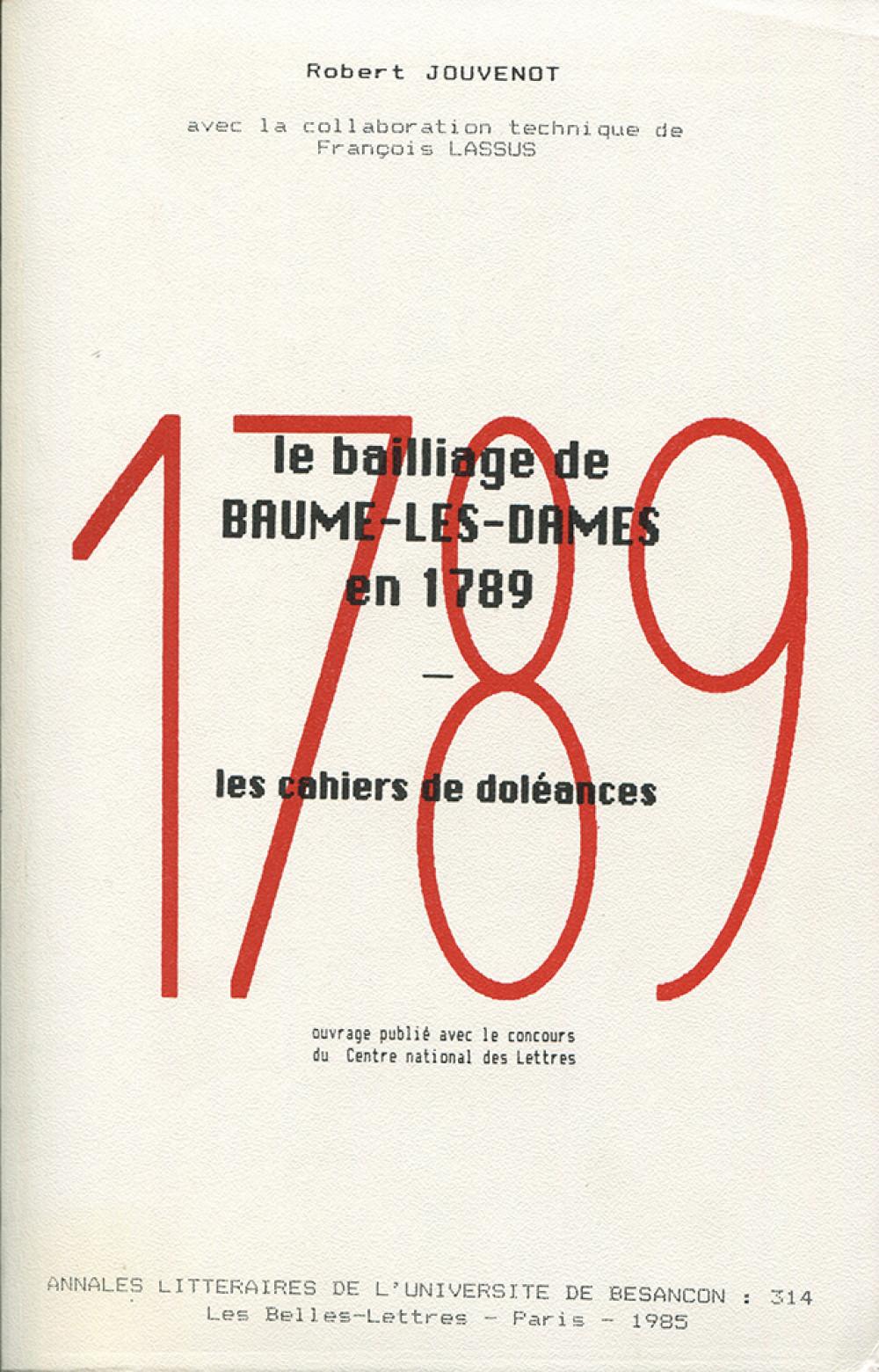 Le bailliage de Baume-les-Dames en 1789