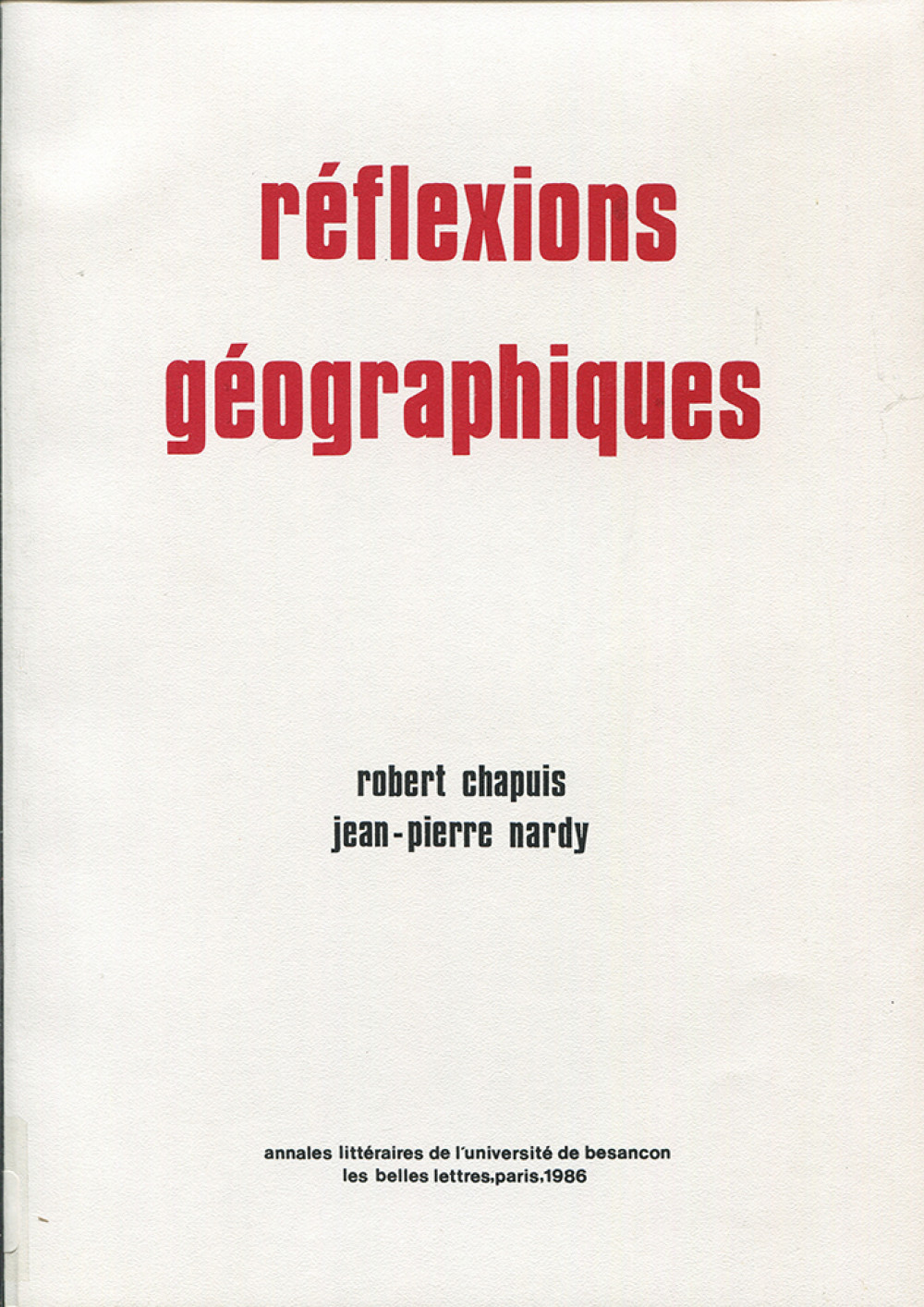 Réflexions géographiques