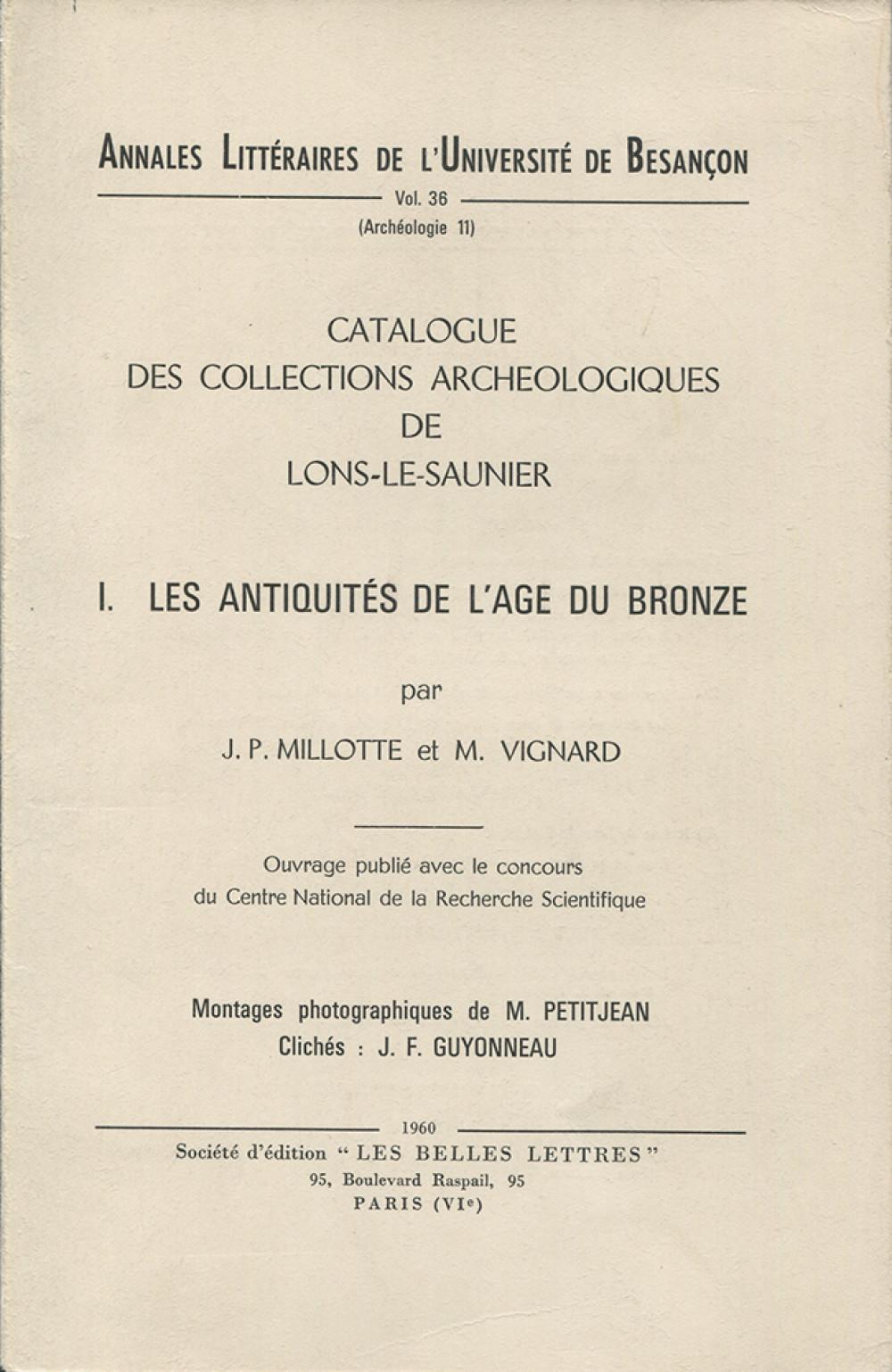 Catalogue des collections archéologiques de Lons-le-Saunier I