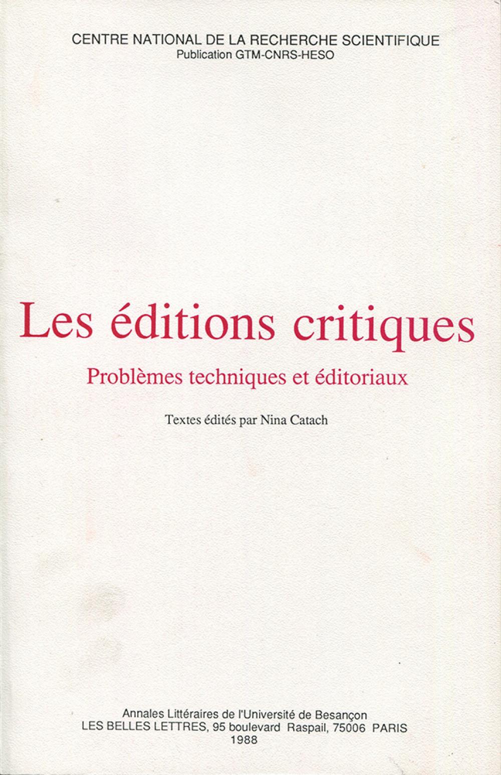 Les éditions critiques