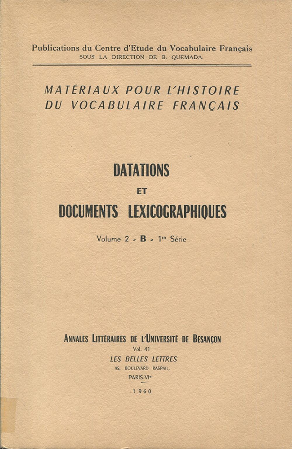 Matériaux pour l'histoire du vocabulaire français II