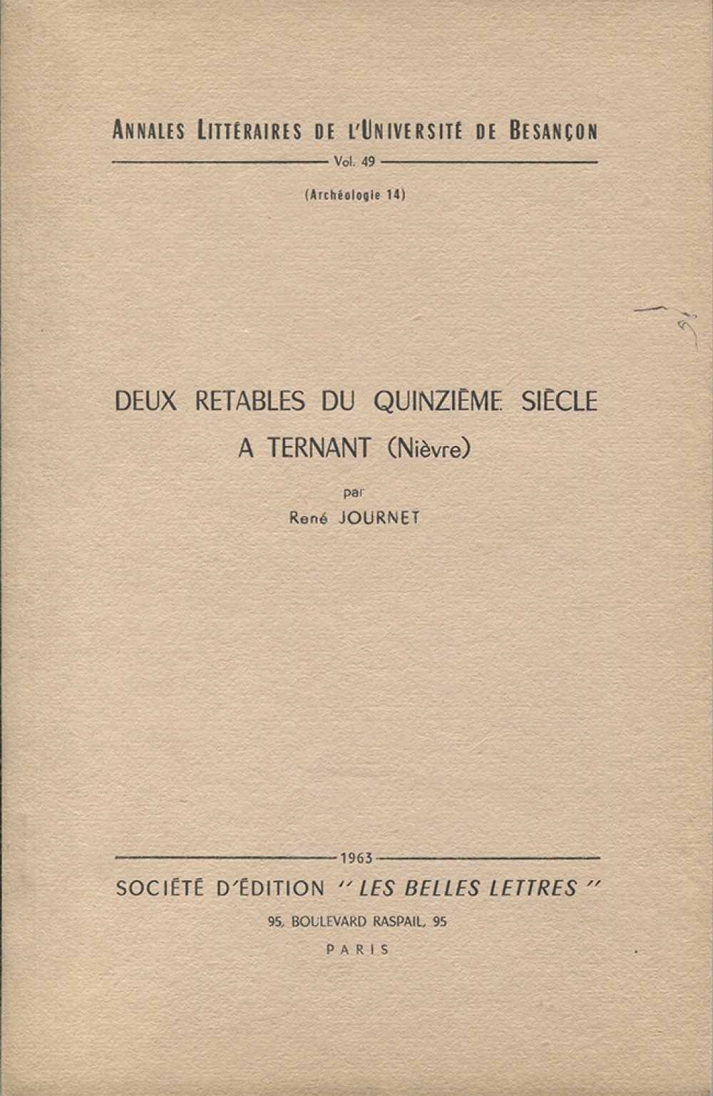"""Deux rétables du <span style=""""font-variant: small-caps"""">XV</span><sup>ème</sup> s. à Ternant"""