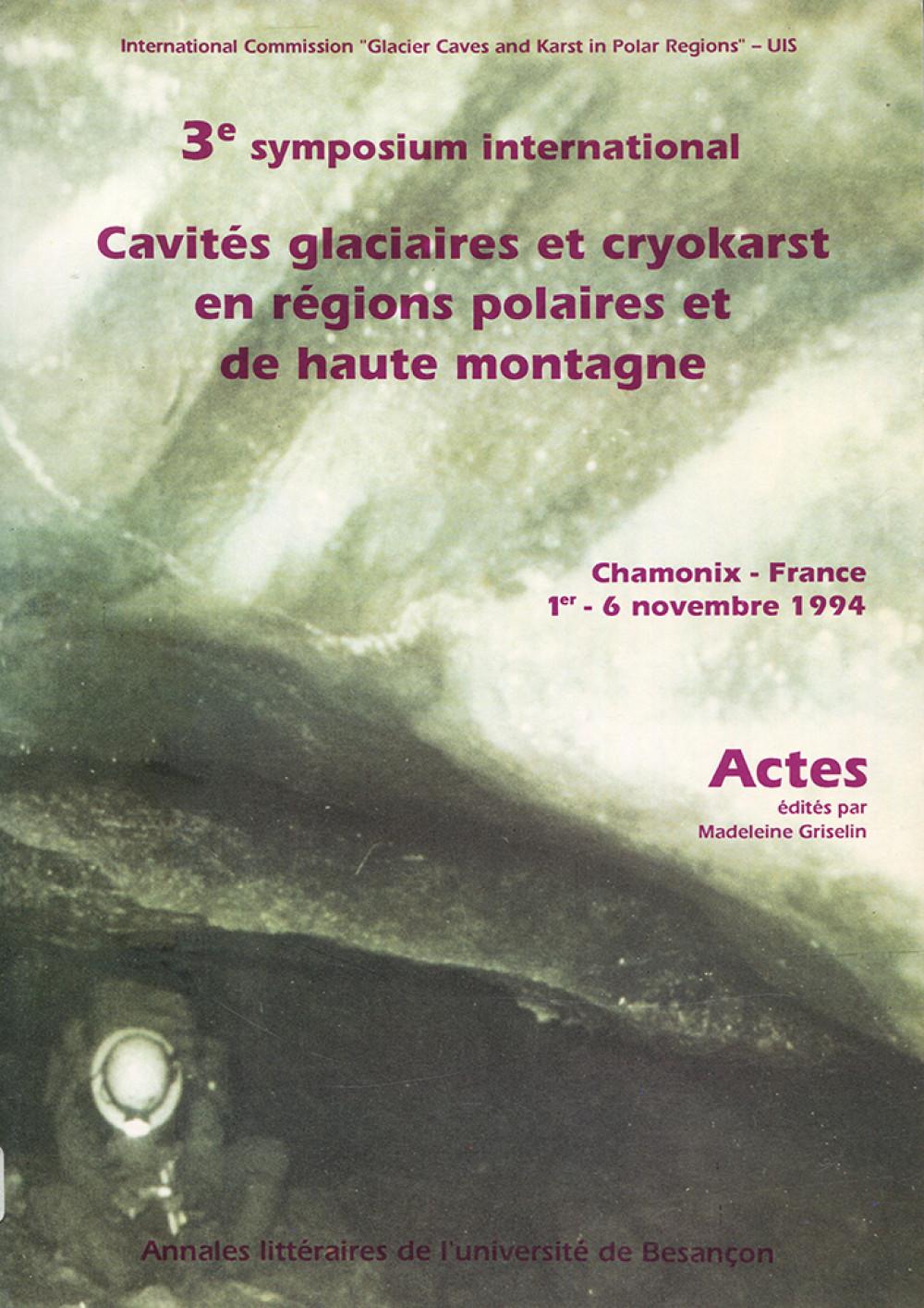 Cavités glaciaires et cryokarst en région polaires et de haute-montagne