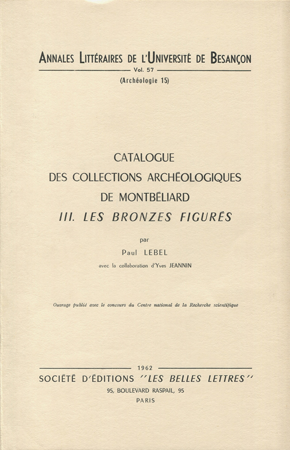 Catalogue des collections archéologiques de Montbéliard III