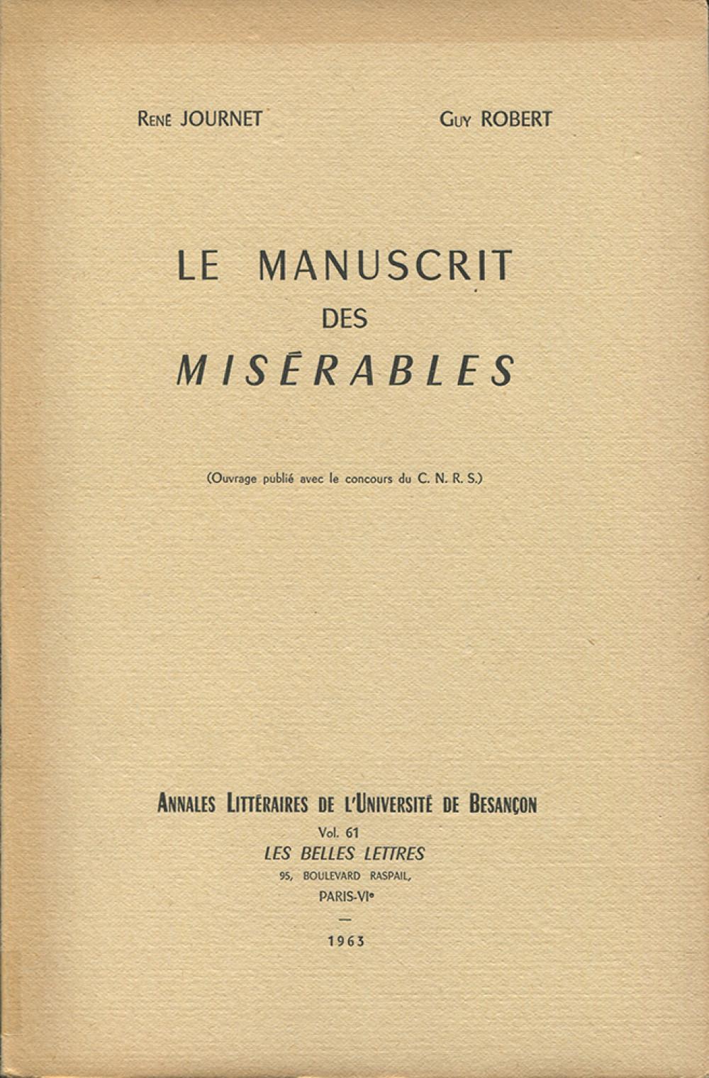 """Le manuscrit des """"Misérables"""""""