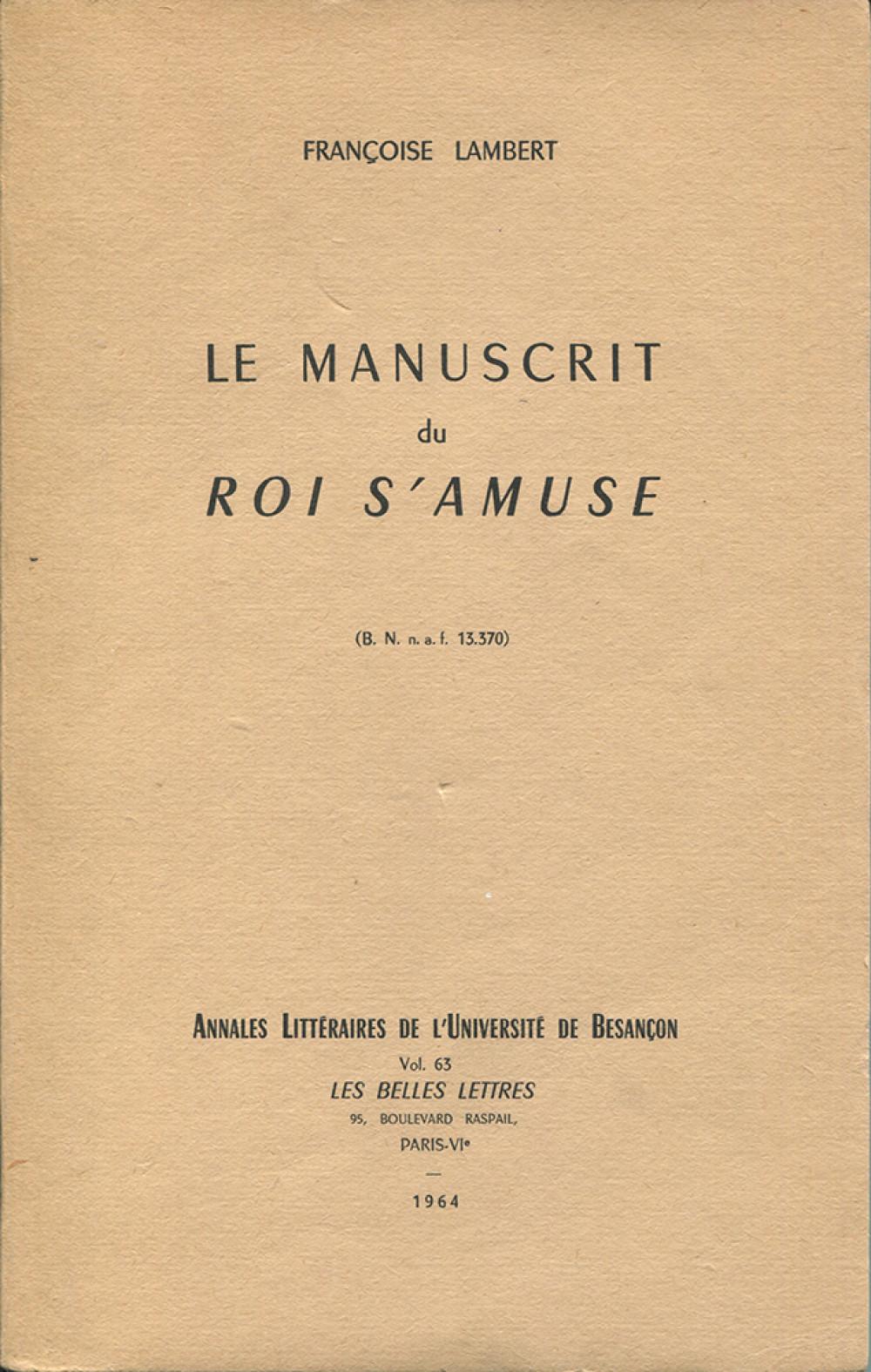 """Le manuscrit du """"Roi s'amuse"""""""