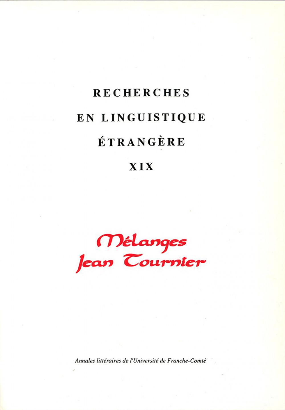 Mélanges Jean Tournier