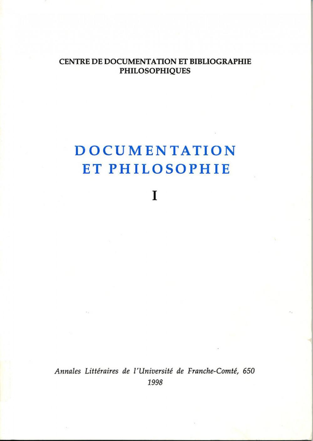 Documentation et philosophie I