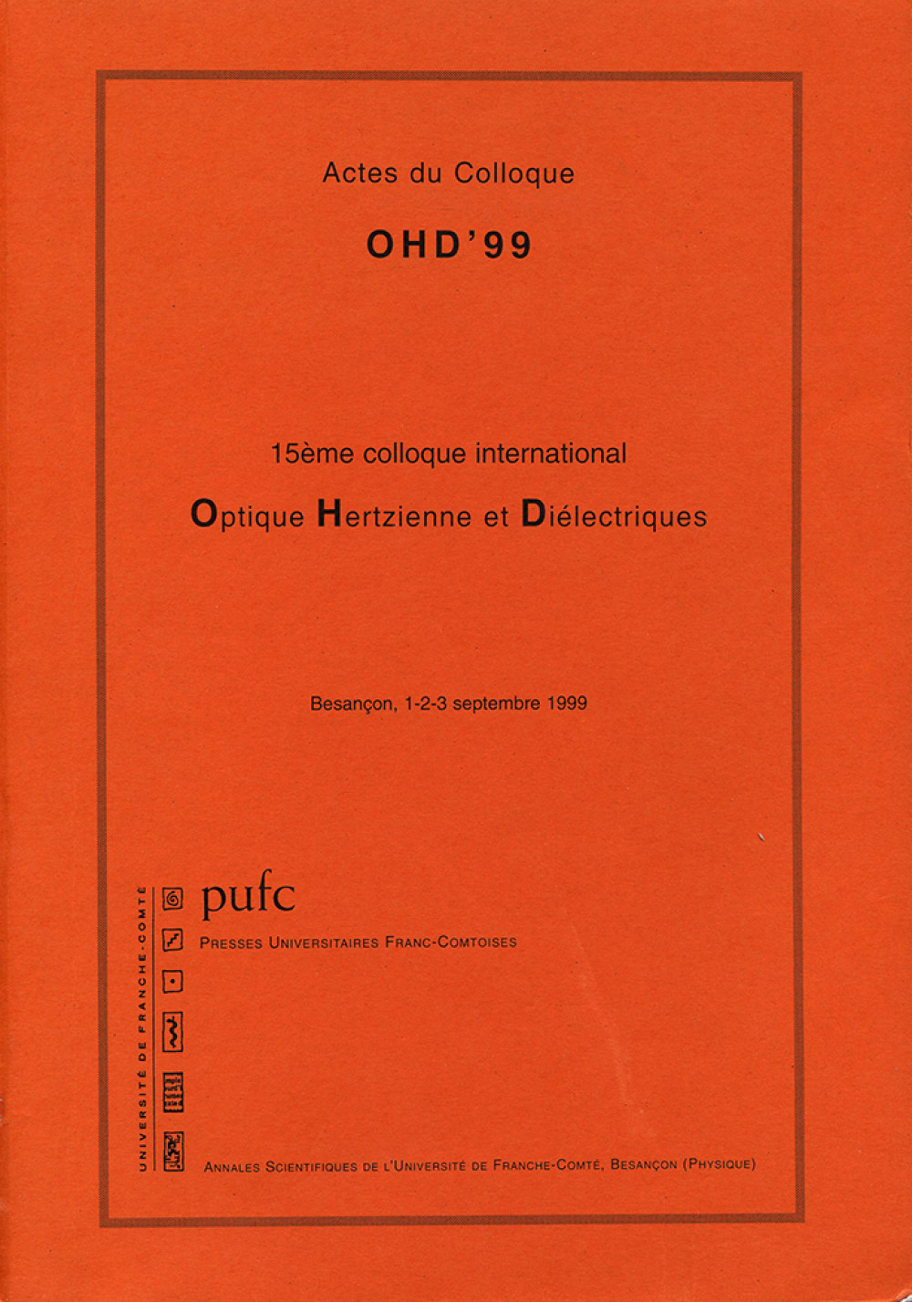 Colloque OHD'99 (optique) septembre 1999