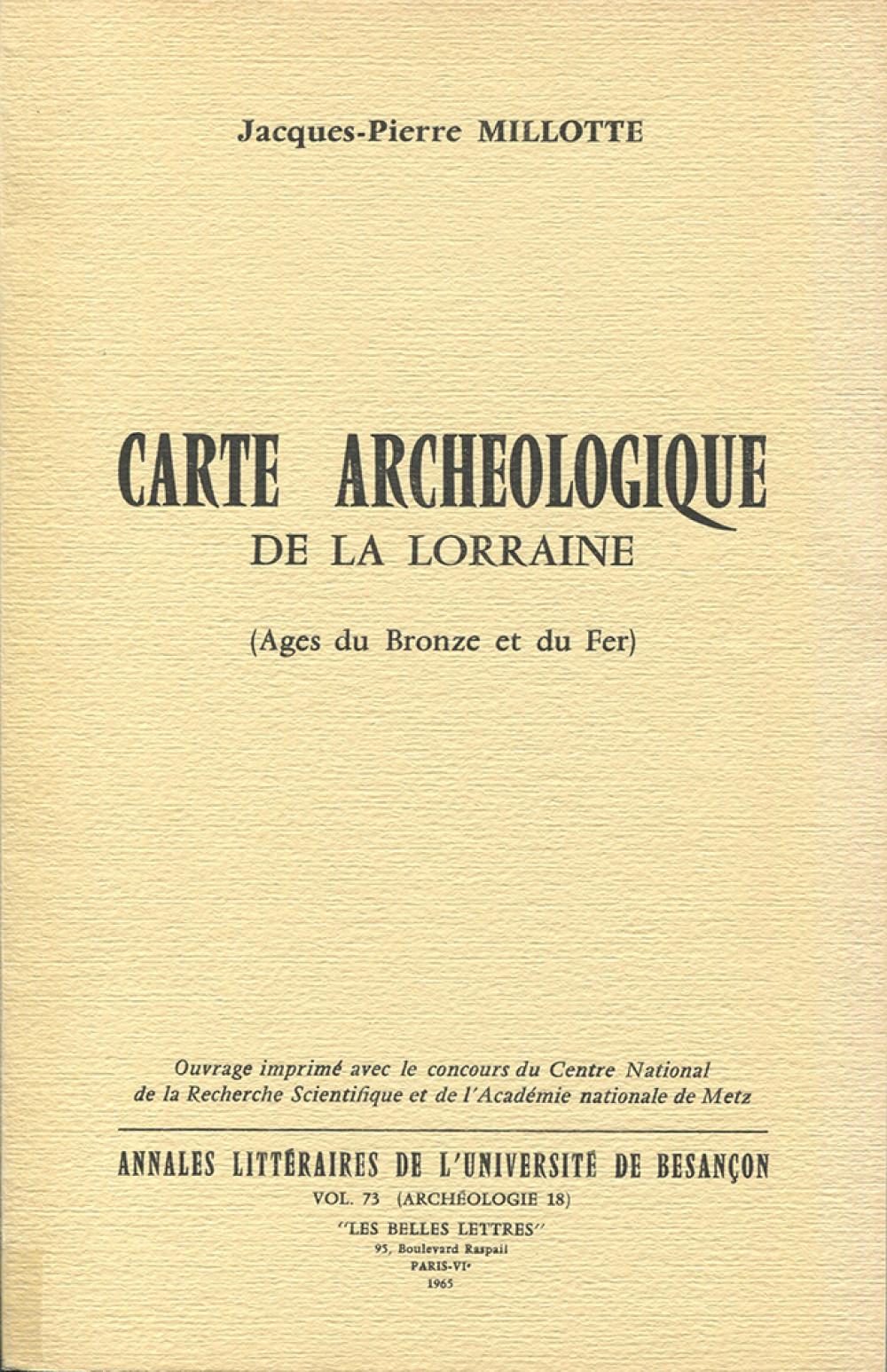 Carte archéologique de la Lorraine