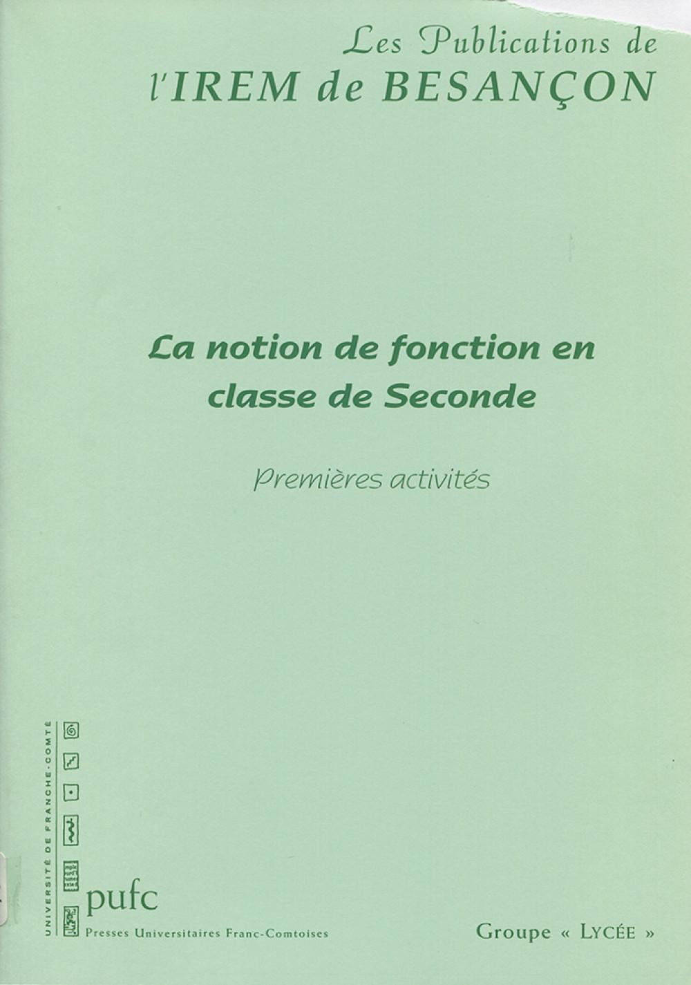 La notion de fonction en classe de seconde