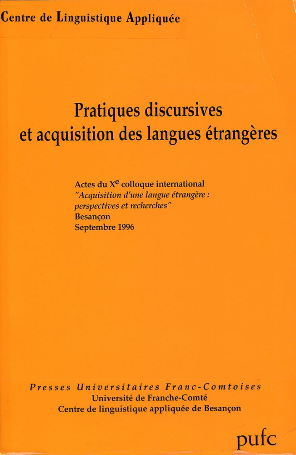 Pratiques discursives et acquisition des langues étrangères