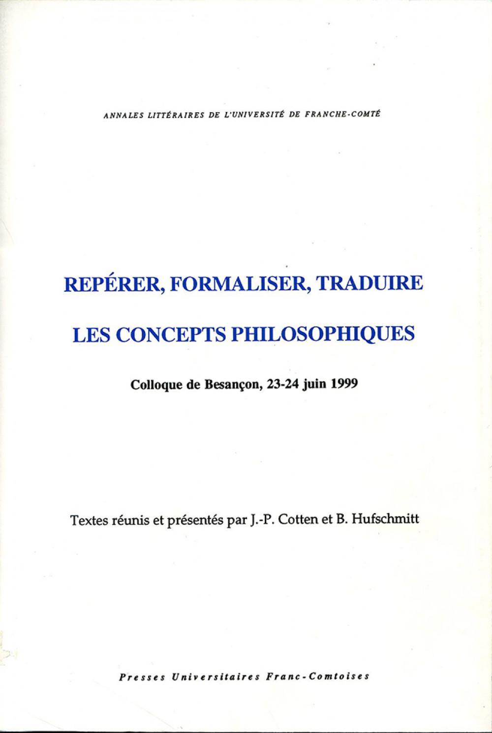 Repérer, formaliser, traduire les concepts philosophiques