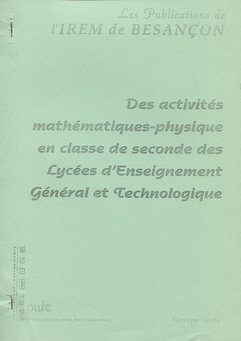 Des activités mathématiques-physique en classe de seconde des lycées d'enseignement général et technologique