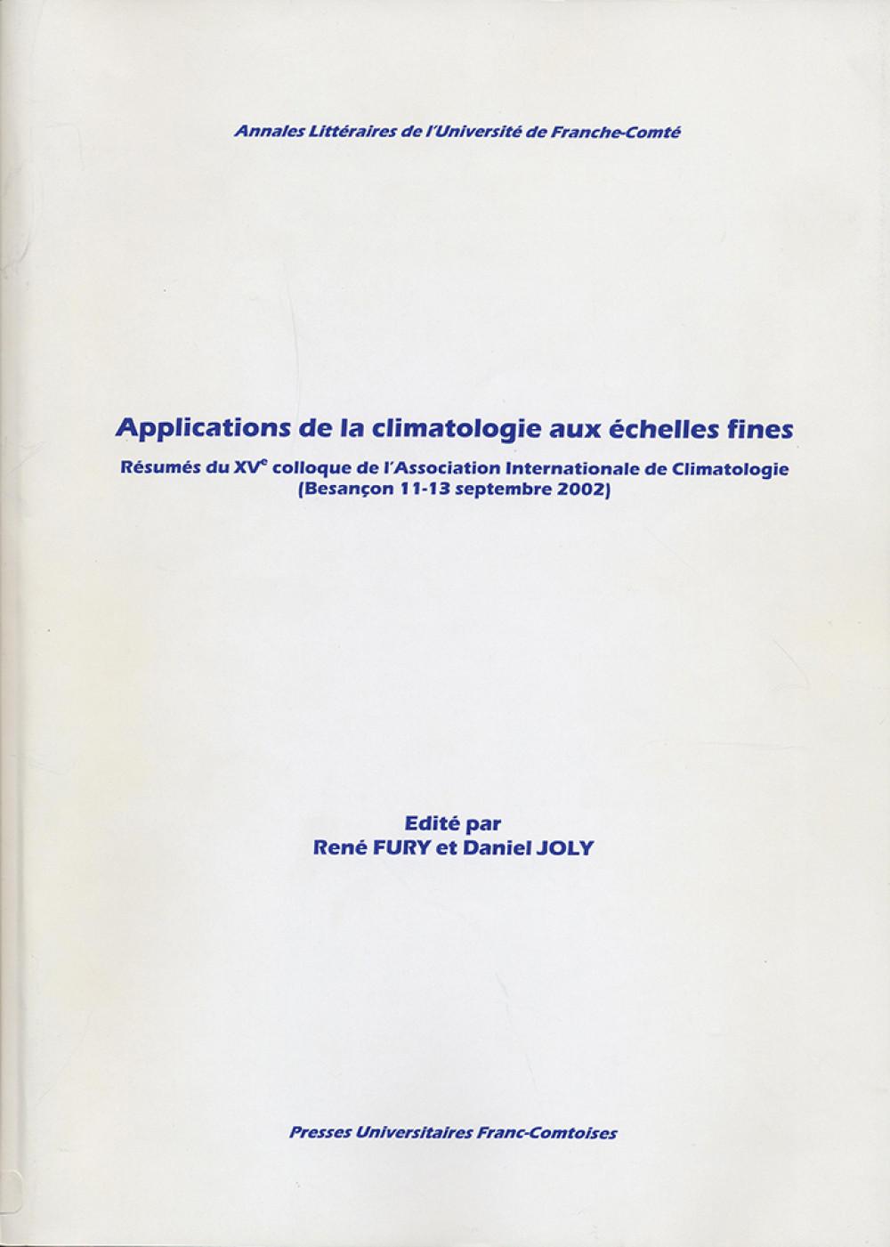 Applications de la climatologie aux échelles fines