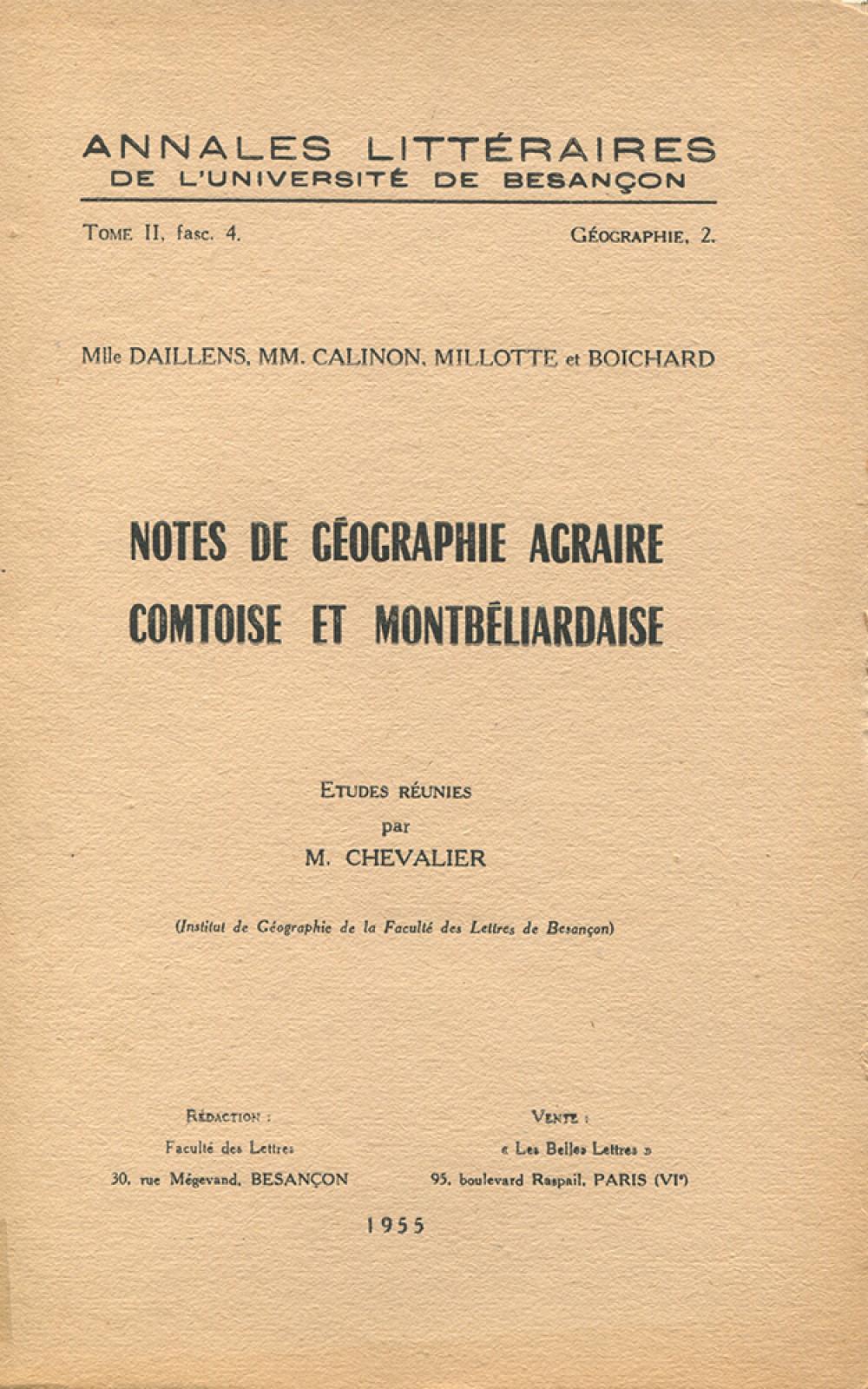 Notes de géographie agraire comtoise et montbéliardaise