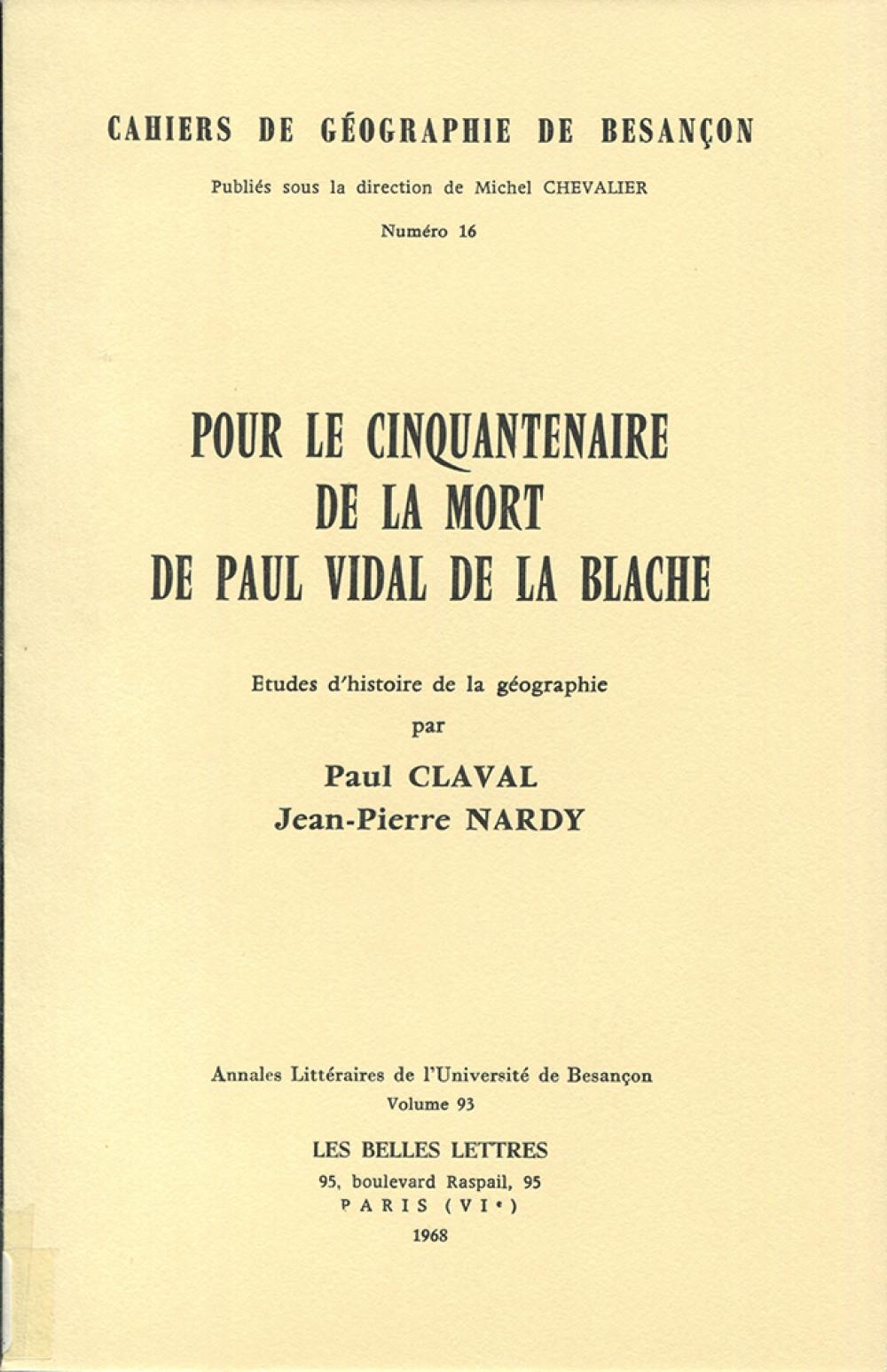 Pour le cinquantenaire de la mort de Paul Vidal de la Blache