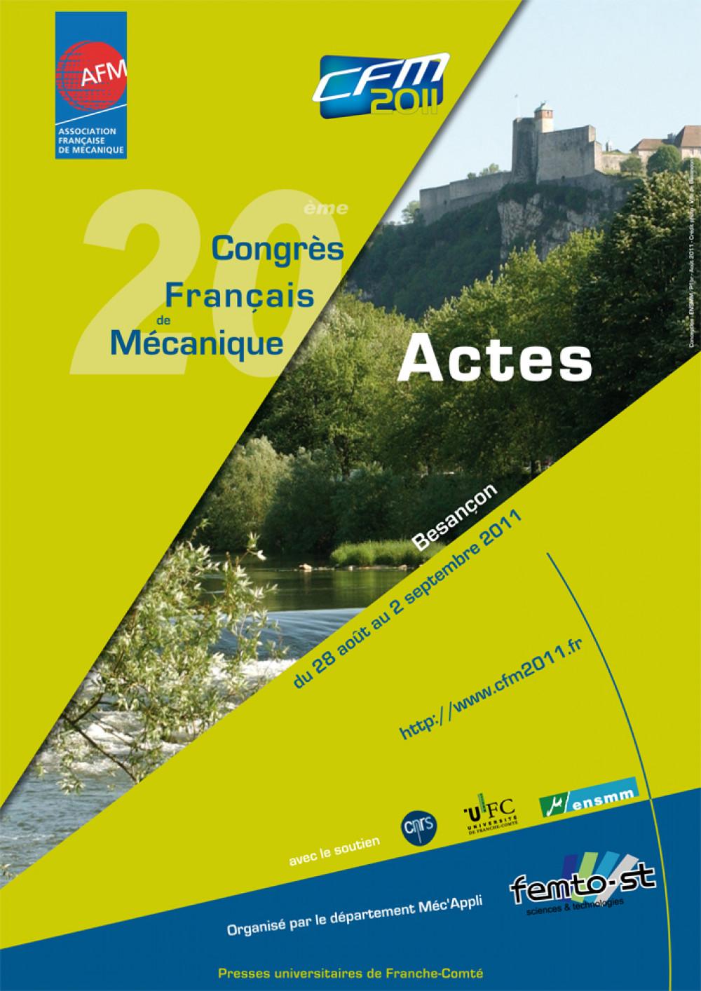 """Actes du <span style=""""font-variant: small-caps"""">XX</span><sup>e</sup> Congrès Français de Mécanique"""